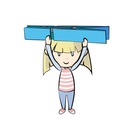 clothespeg: Girl holding clothespin Illustration