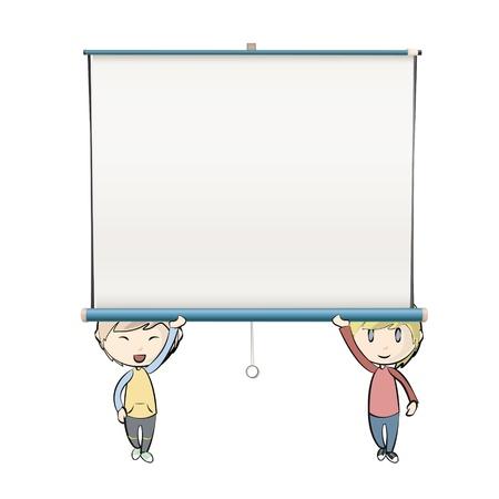 projector screen: Bambini che tengono schermo del proiettore bianco vuoto. Vettoriali