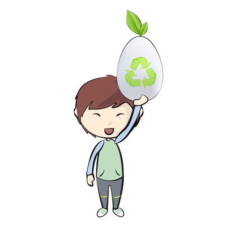 Kid holding a white egg with recycle icon. Stock Vector - 21297595