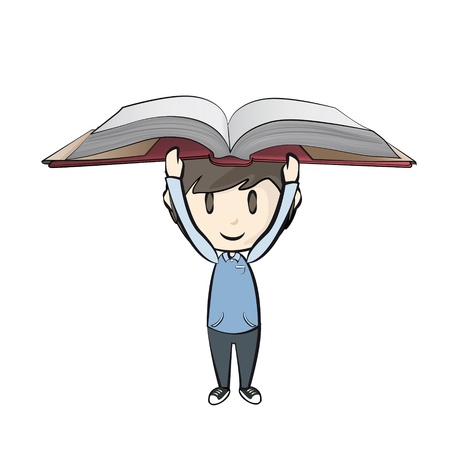 Kid holding book. Stock Vector - 21297599