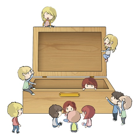 Kids around wood box Vector