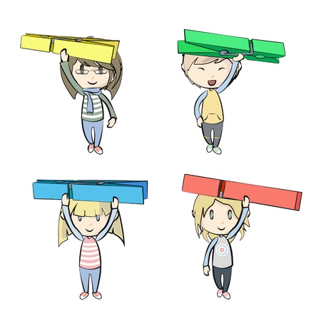 clothespeg: Groups of kids holding clothespin Illustration