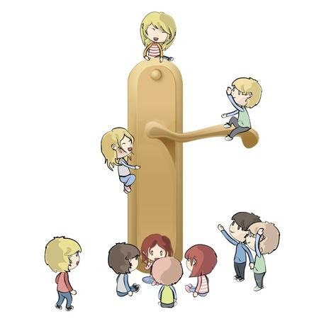 Kinderen rond Doorknob.