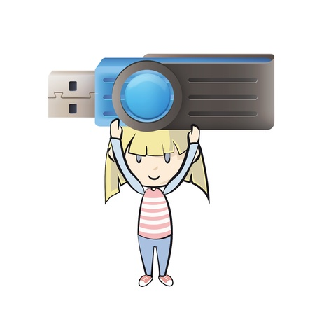 microdrive: Girl holding a realistic blue pendrive.  Illustration