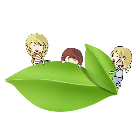 Group of kids around leaf.  Vector