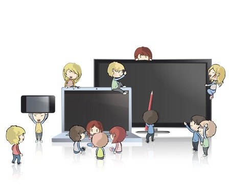 Kids holding TV, computer,CD and phone.