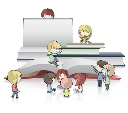 Kids around empty books. Vector