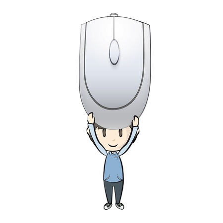 clique: Gray computer mouse on white background.  Illustration