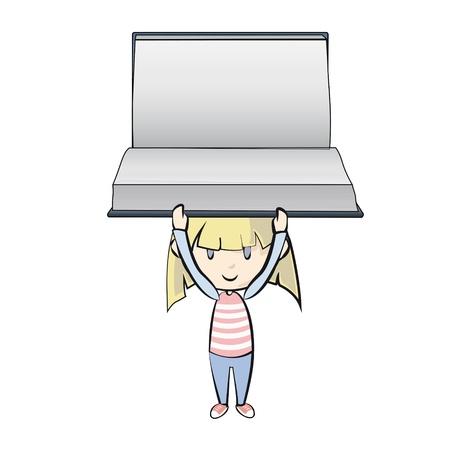 Girl holding empty book. Stock Vector - 21297655
