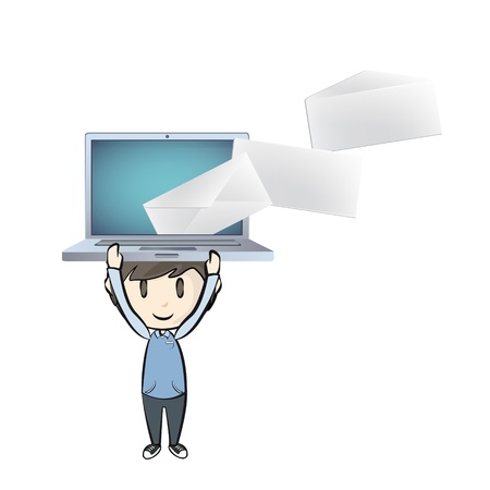 Boy holding a modern laptop with envelope inside.  Stock Vector - 21297671