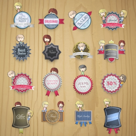 Collection of kids holding vintage labels. Stock Vector - 21297673