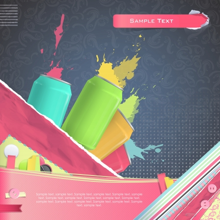 Nice design with colorful tin on vintage background.   Vector