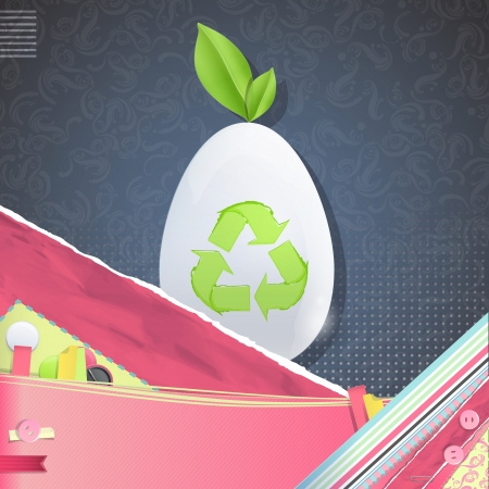 Nice design with white egg on vintage background. Stock Vector - 21297688