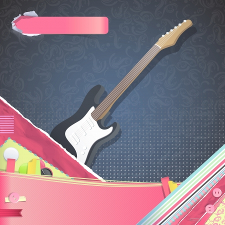 accords: Nice design with realistic bass on vintage background.