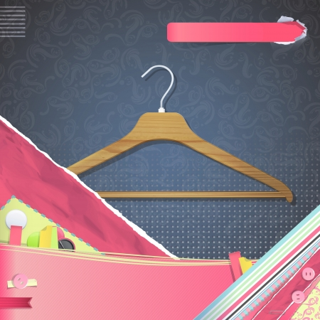 Nice design with hanger on vintage background.   Vector