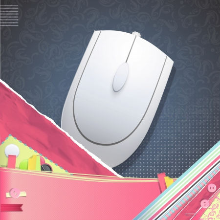 clique: Nice design with gray computer mouse.