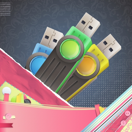 Nice design with colorful pendrive. Stock Photo - 21297698