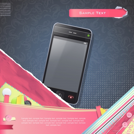 Nice design with realistic phone. Stock Photo - 21297699