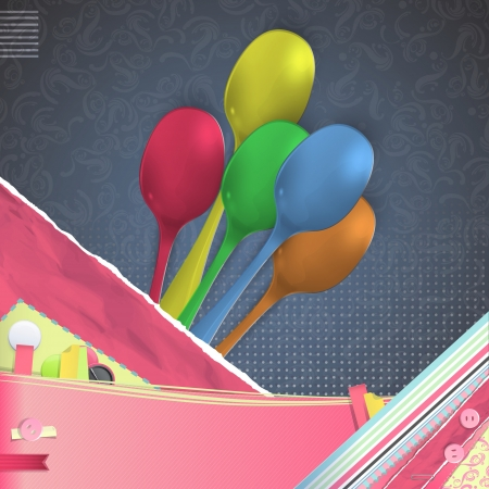 Nice design with realistic colorful spoon.  Stock Photo - 21297719