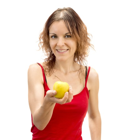 Young girl holding an apple photo