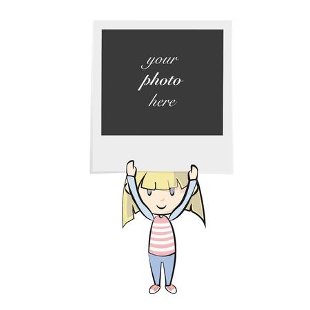 Girl holding photo. Isolated vector background design. Illustration
