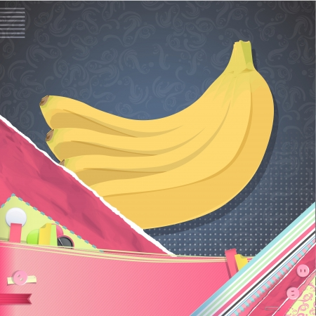 Nice design with bananas on vintage background. Vector design.  Vector