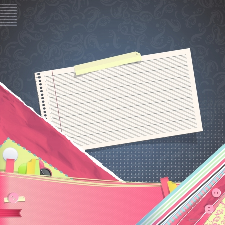 Nice design with note paper on texture background. Vector design.  Vector