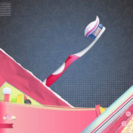 Nice design with realistic toothbrush and toothpaste  vector background  Vector