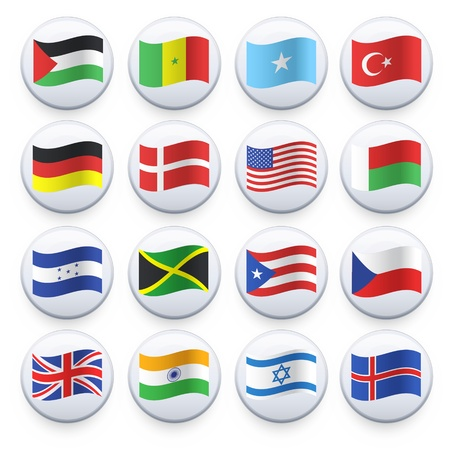 Set of flags printed on white button  Vector design  Stock Vector - 21501641