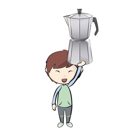 Kid holding a coffee pot  Vector design  Stock Vector - 21501735
