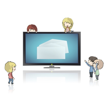 post teen: Realistic TV isolated on white background with envelope inside  Vector design   Illustration