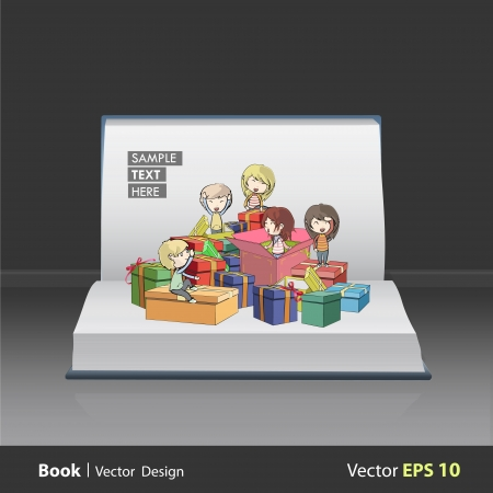 Kids around many gifts on book  Vector design Stock Vector - 21501947