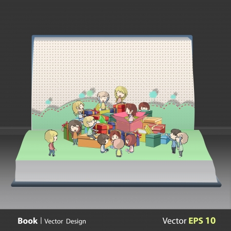 Kids around many gifts on book  Vector design Stock Vector - 21501954