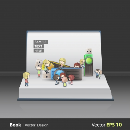 Kids playing around several pendrives on book Vector design