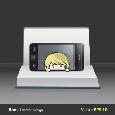 Cute blonde girl inside phone on book  Vector design Vector