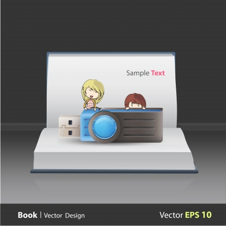 microdrive: Kids holding blue pendrive on book  Vector design