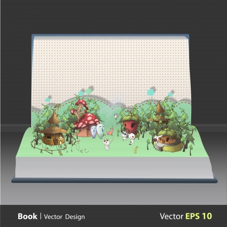 Cute monsters playing in front houses on book  Vector design Stock Vector - 21501984