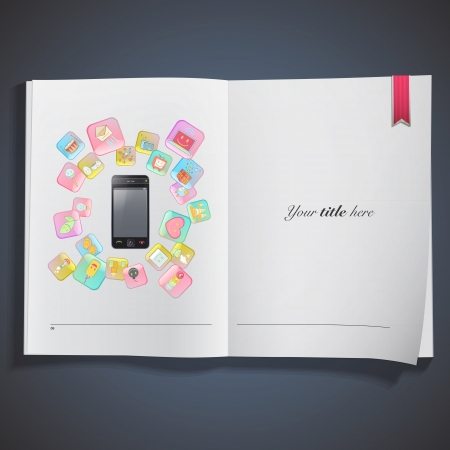 Gift phone with several icons  Isolated vector background design  Vector