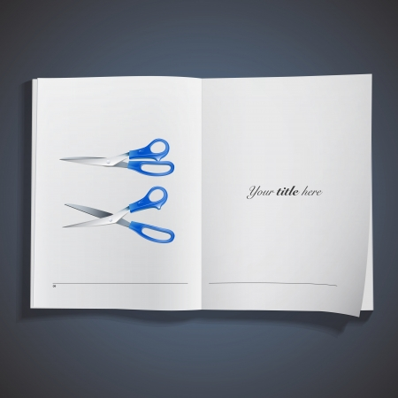 Realistic scissors printed on book  Vector design  Vector