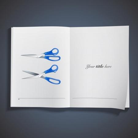 Realistic scissors printed on book  Vector design Stock Vector - 21501992