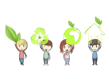 Kids holding ecological icons. design.  Vector