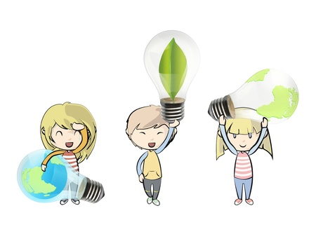 Kids holding eco light bulbs. design.  Vector