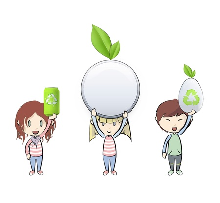 Kids holding eco elements. Illustration Stock Vector - 21693294