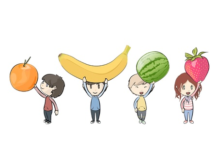 amigos comiendo: Ni�os con frutas. Ilustraci�n Vectores