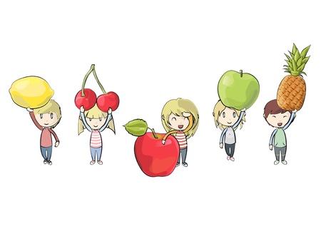 amigos comiendo: Ni�os con frutas de colores. Ilustraci�n