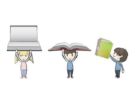 Kids holding books. Illustration Stock Vector - 21693282