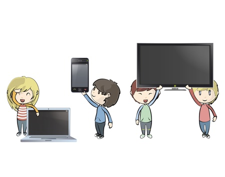 Kids holding PC, phone and TV. Illustration Vector