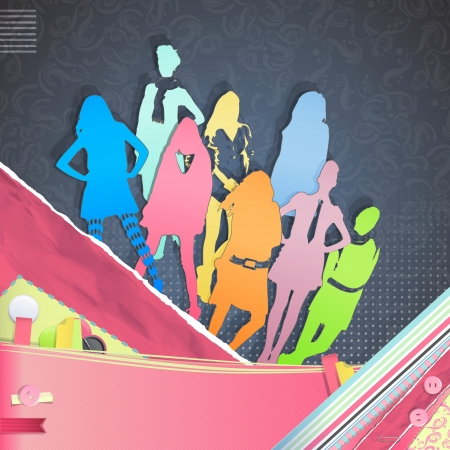 Nice design with collection of silhouette models over vintage background. Illustration. Vector