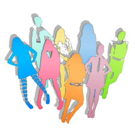 Collection of silhouette models. Colorful Illustration background design.  Vector