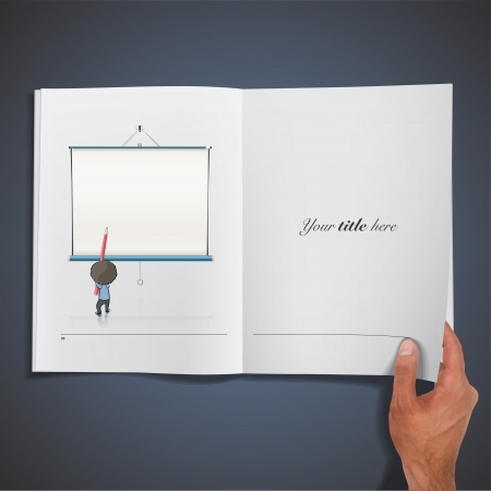 Kid writing printed on book. Illustration. Vector
